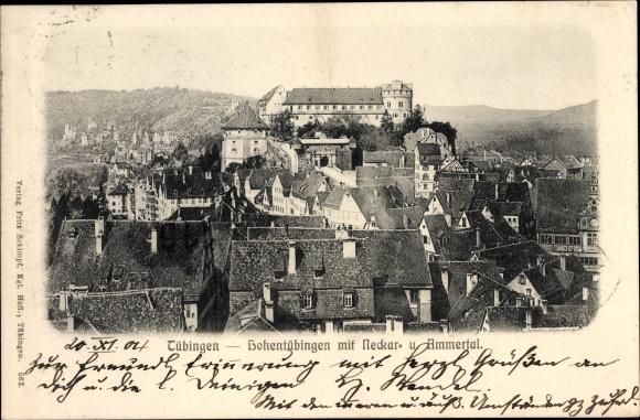 Ak Tübingen am Neckar Baden Württemberg, Blick auf Hohentübingen mit Neckar- und Ammertal
