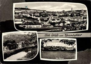 Ak Baumholder im Kreis Birkenfeld, Panorama vom Ort, Partie am Weiher, Edingersmühle