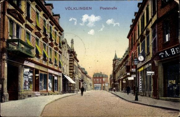 Ak Völklingen im Saarland, Partie in der Poststraße, Geschäfte, Friseur
