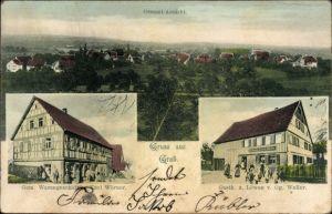 Ak Grab Großerlach, Panorama, Geschäft von Karl Wörner, Gasthaus zum Löwen von Gg. Weller