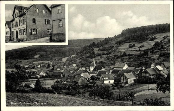 Ak Kempfenbrunn Flörsbachtal in Hessen, Gasthaus zum Löwen, Bes. Bonhard, Panorama vom Ort