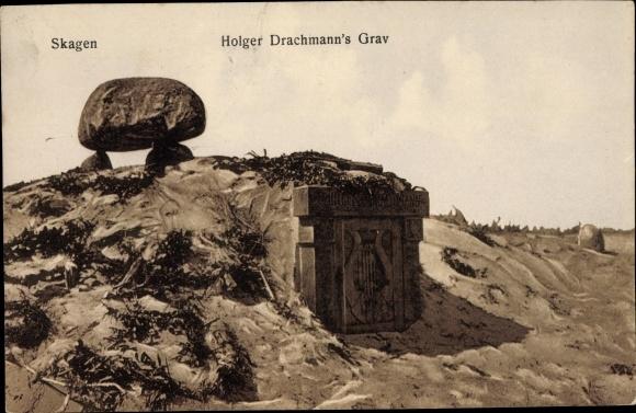Ak Skagen Frederikshavn Dänemark, Holger Drachmann´s Graven