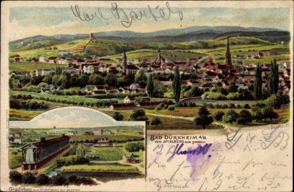 Künstler Litho Dirion, Bad Dürkheim am Pfälzerwald, Gradierbau vom Michelsberg aus gesehen