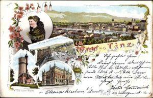 Litho Linz in Oberösterreich, Totalansicht, Franz Josef Platz, Das Neue Museum, Franz Josef Warte