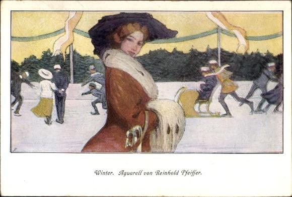 Künstler Ak Pfeiffer, Reinhold, Winter, Beim Eislaufen