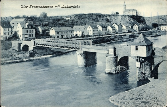 Ak Diez im Rhein Lahn Kreis Rheinland Pfalz, Sachsenhausen mit Lahn Brücke