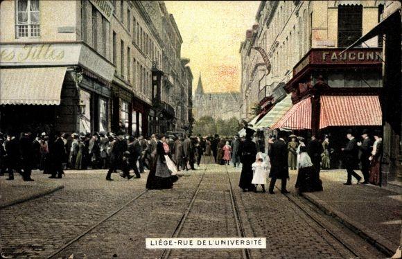 Ak Liège Lüttich Wallonien, Rue de l'Université, Straßenpartie, Geschäfte, Passanten