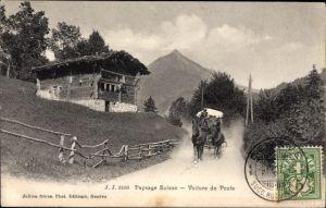 Ak Genève Genf Stadt, Paysage Suisse, Voiture de Poste, Postkutsche