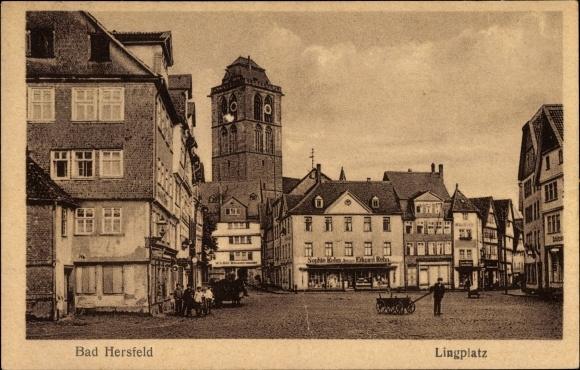 Ak Bad Hersfeld in Hessen, Partie am Lingplatz, Geschäft, Inh. Sophie u. Eduard Rehn