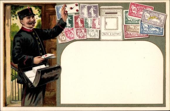 Präge Briefmarken Litho Postbote bringt die Post, Briefkasten