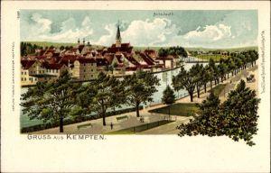 Litho Kempten im Allgäu Schwaben, Flusspartie mit Blick auf die Altstadt