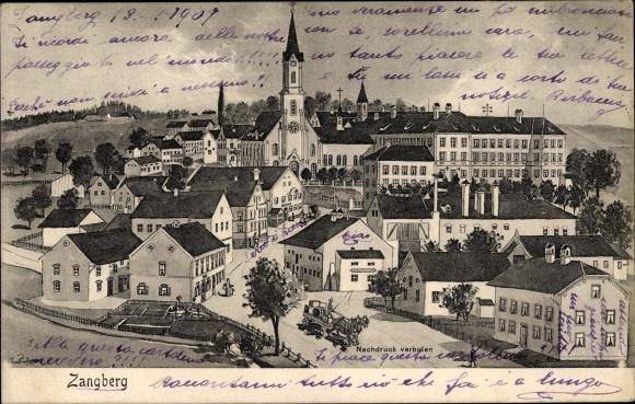 Künstler Ak Zangberg Oberbayern, Gesamtansicht des Ortes, Kirche, Straße