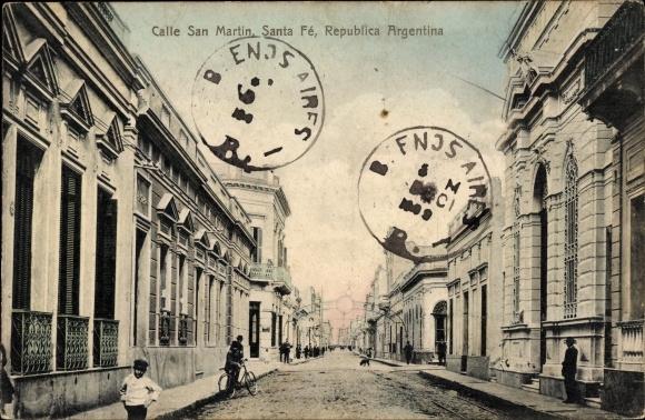 Ak Santa Fe Argentinien, Calle San Martin, Straßenpartie