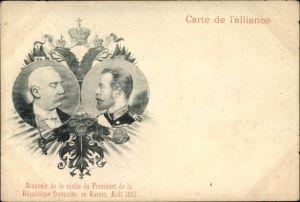 Ak Französischer Staatspräsident Félix Faure, Zar Nikolaus II. von Russland, Staatstreffen 1897