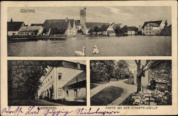 Ak Gögging Neustadt an der Donau Niederbayern, Römerbad, Schwefelquelle, Panorama vom Ort