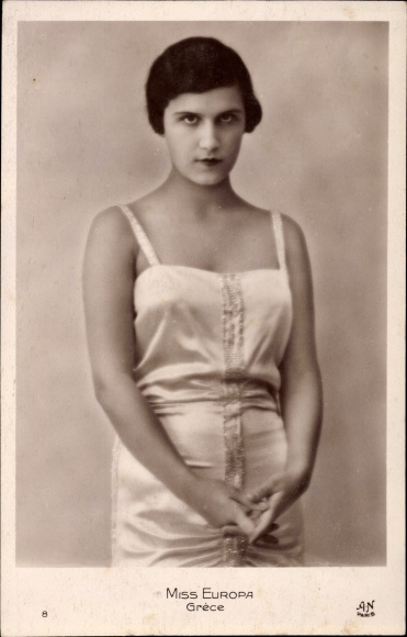 Ak Miss Europa, Grèce, Griechische Schönheitskönigin, Portrait