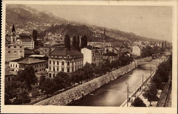 Ak Sarajevo Bosnien Herzegowina, Miljacka sa okolicom