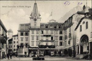 Ak Brig Glis Kt. Wallis Schweiz, Hotel Couronne et Poste, American Bar