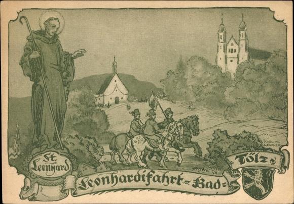 Künstler Ak Bad Tölz im Isartal Oberbayern, St. Leonhardifahrt
