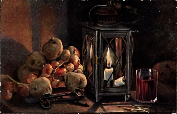 Künstler Ak Golay, Mary, Stillleben mit Laterne, Weinglas, Früchte, Schlüssel
