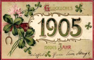 Präge Litho Glückwunsch Neujahr, Jahreszahl 1905, Kleeblätter, Hufeisen