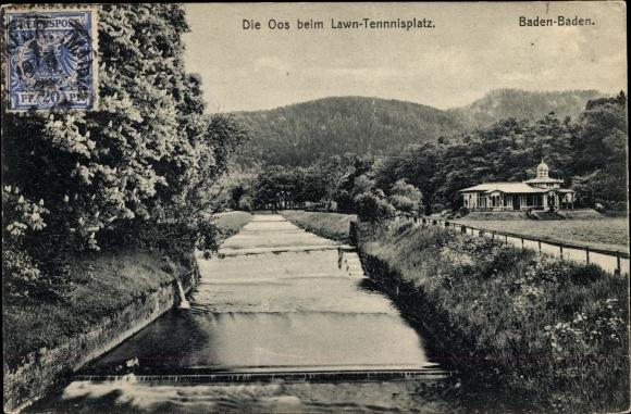 Ak Baden Baden im Stadtkreis Baden Württemberg, Die Oos beim Lawn Tennisplatz, Wehr