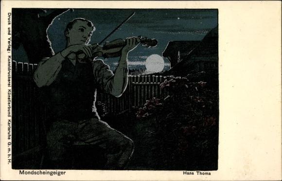 Mondschein Künstler Ak Thoma, Hans, Mondscheingeiger, Silbernes Mondlicht