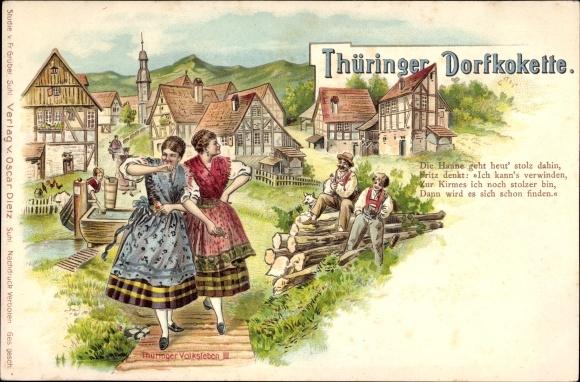 Litho Thüringer Dorfkokette, Thüringer Volkstrachten, Junge Frauen