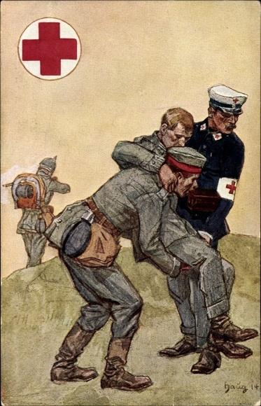 Künstler Ak Haug, Württ. Landesvereins v. Roten Kreuz 1914, Sanitäter, Verwundeter Soldat