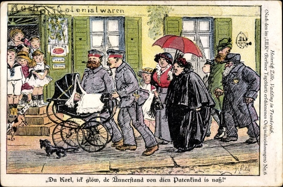 Künstler Ak Zille, Heinrich, Du Karl, ick glöw, de Ünnerstand von dien Patenkind is naß