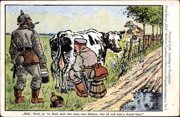 Künstler Ak Zille, Heinrich, Vadding in Frankreich, Soldaten beim Melken einer Kuh, Eimer, I. WK