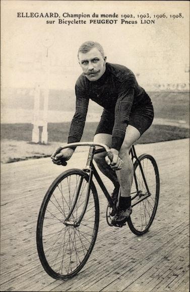 Ak Ellegaard, Radrennfahrer, Champion du monde 1902, 1903, 1906, 1908, Bicyclette Peugeot