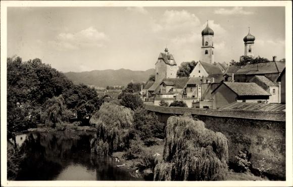 Ak Isny im Allgäu Baden Württemberg, Teilansicht, Zwiebeltürme