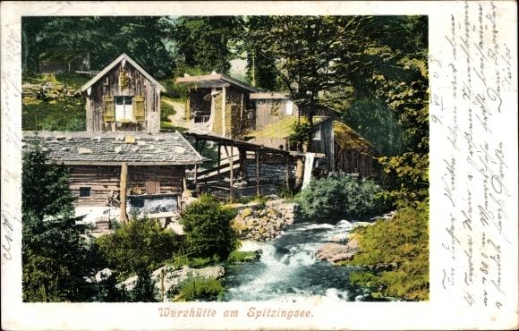 Ak Schliersee im Kreis Miesbach Oberbayern, Wurzhütte am Spitzingsee, Bach