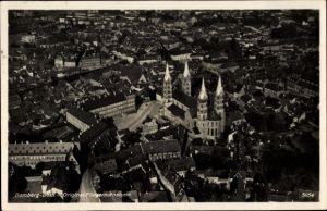 Ak Bamberg an der Regnitz Oberfranken, Fliegeraufnahme der Stadt, Dom