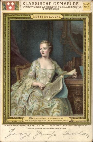 Künstler Litho Latour, Maurice Quentin Latour, Madame de Pompadour, Portrait, Märtesse Ludwig XV.