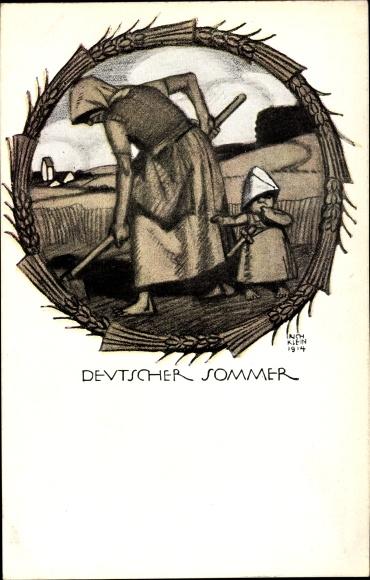 Künstler Ak Deutscher Sommer, Mutter bestellt den Acker, Bayerische Kriegsinvalidenfürsorge, I. WK