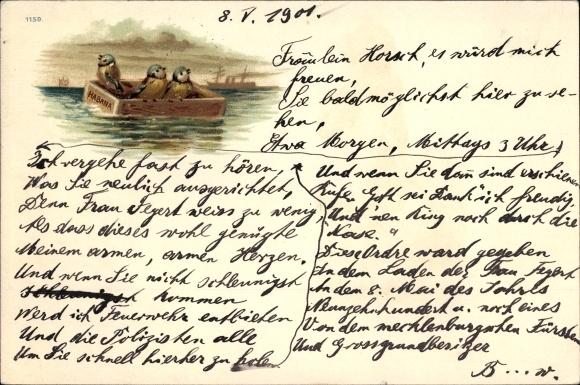 Litho Drei Meisen in einer Schachtel auf dem Meer, Habana, Ozeandampfer im Hintergrund