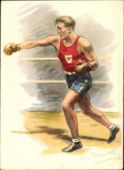 Künstler Ak Boxer im Ring, Vydan na podporu ceskoslovenskeho vyboru olympijskeho