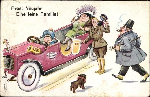 Künstler Ak Scheuermann, Willi, Prost Neujahr, Eine feine Familie, Auto, Chauffeur