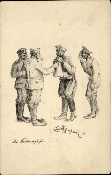Künstler Ak Die Friedenspfeife, Deutsche Soldaten, Russische Kriegsgefangene,, I. WK