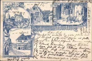 Litho Lutherstadt Eisenach in Thüringen, Burghof, Luther Haus und Stube, Wartburg