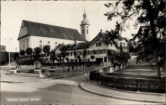 Ak Wohlen Kt. Aargau Schweiz, Blick auf die katholische Kirche