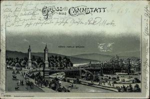 Mondschein Litho Cannstatt Stuttgart in Baden Württemberg, König Karls Brücke, Teilansicht der Stadt