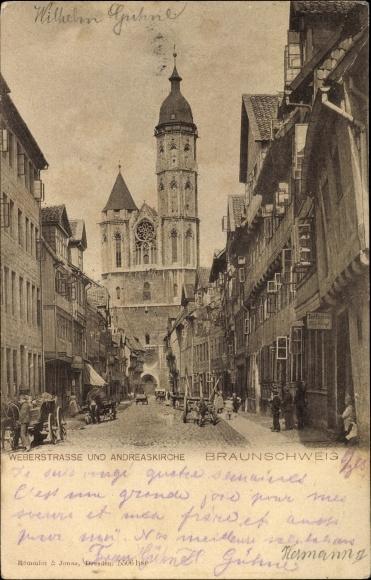Ak Braunschweig in Niedersachsen, Partie auf der Weberstraße und Andreaskirche
