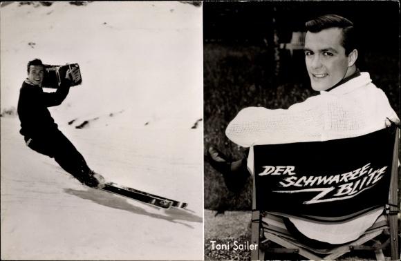 Ak Schauspieler und Skirennläufer Toni Sailer, Portrait auf Skiern mit Akkordeon, Der schwarze Blitz