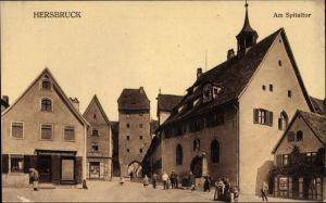 Ak Hersbruck im Nürnberger Land Bayern, Partie am Spitaltor, Denkmal, Goldankauf, Inh. Wiedenmayer