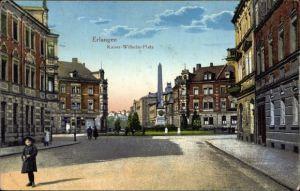 Ak Erlangen in Mittelfranken Bayern, Blick auf auf den Kaiser Wilhelm Platz