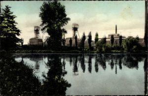 Ak Sterkrade Oberhausen Nordrhein Westfalen, Gondelteich im Volkspark, Blick auf Zeche Sterkrade