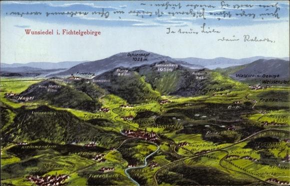 Landkarten Ak Wunsiedel im Tal der Röslau Oberfranken, Fichtelgebirge, Alexandersbad, Ochsenkopf